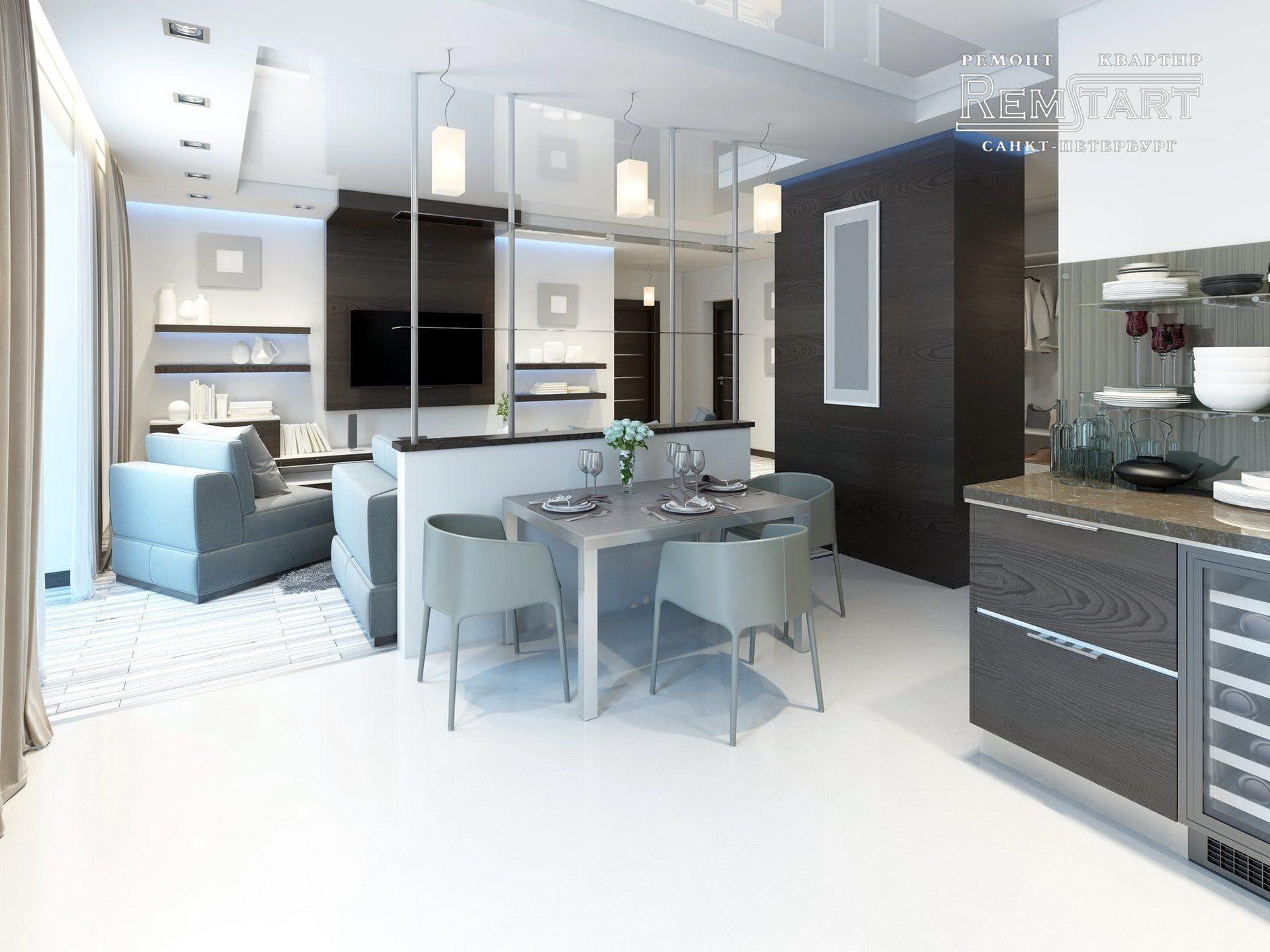 Дизайн большой квартиры студии совмещенная кухня и гостиная СПБ