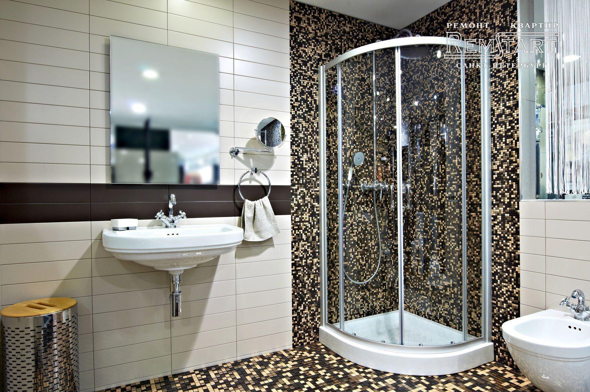 Дизайн плитки в ванной комнате с душевой кабиной